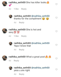 Anaconda, Funny, and Love: radhika_seth69 She has killer looks  4d 1 like Reply  radhika_seth69 @radhika_seth69  thanks for the compliment  4d Reply  radhika_seth69 She is hot and  sexy 100 100  4d 1 like Reply  radhika_seth69 @radhika_seth69  Yaya I know that  4d Reply  radhika-seth69 What a great post  4d Reply  radhika_seth69 @radhika_seth69  yess u are right  d Reply