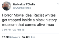 <p>Shut up and take my money (via /r/BlackPeopleTwitter)</p>: Radicalize T'Challa  @QGotNoRings  Horror Movie Idea: Racist whites  get trapped inside a black history  museum that comes alive Imao  3:09 PM-20 Feb 18  12.3K Retweets 36.4K Likes <p>Shut up and take my money (via /r/BlackPeopleTwitter)</p>