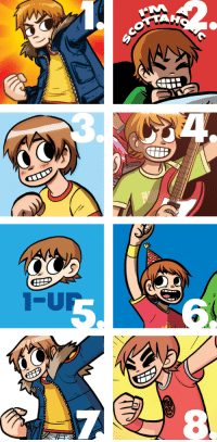 radiomaru:an old pic I made to show how the look of Scott Pilgrim evolved from early 2004 to mid 2007: radiomaru:an old pic I made to show how the look of Scott Pilgrim evolved from early 2004 to mid 2007