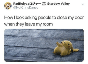 """Please……close the door"": RadRojyaa -so  @NotChrisDanao  Stardew Valley  How I look asking people to close my door  when they leave my room ""Please……close the door"""
