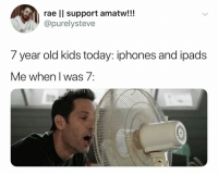Kids, Today, and Dank Memes: rae ll support amatw!!!  @purelysteve  7 year old kids today: iphones and loads  ve wnen I was/ (@ship)