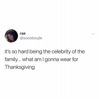 Family, Thanksgiving, and Relatable: rae  @soooboujie  it's so hard being the celebrity of the  family.. what amlgonna wear for  Thanksgiving give thanks to me... for coming to dinner