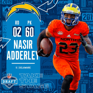 With the #60 overall pick in the 2019 @NFLDraft, the @Chargers select S Nasir Adderley! #NFLDraft https://t.co/KcSCyuqYOA: RAFT  APRIL  CHARGERS  GELES n10  LA  Riddell ..  201  LA  EUTURE  02 60  NASIR 23  SHIN  Reeses S  ais  NORT  ADDERLE  LOS  S DELAWARE  2019  ARGERS  T2019  FUTURE  NFL  DRAFT|  RAFTTCHE  Lil  S NOW  2019  ID  1010 With the #60 overall pick in the 2019 @NFLDraft, the @Chargers select S Nasir Adderley! #NFLDraft https://t.co/KcSCyuqYOA