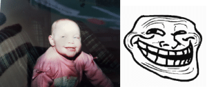 rage-comics-base:  Found an old picture of my sister doing the original troll face circa 1988: rage-comics-base:  Found an old picture of my sister doing the original troll face circa 1988