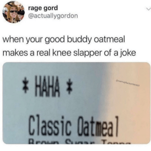 me_irl: rage gord  @actuallygordon  when your good buddy oatmeal  makes a real knee slapper of a joke  * HAHA *  @memephucker696969  Classic Datmeal  Broun S ar Tonne me_irl