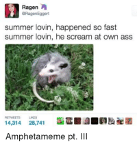 Ass, Scream, and Summer: Ragen  @RagenEggert  summer lovin, happened so fast  summer lovin, he scream at own ass  RETWEETS  LIKES  14,314 28,741  a  勘酣凿  Amphetameme pt. II
