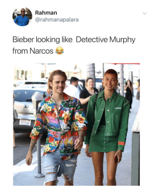 Getting ready for a role in Medellin. by Easygrowing MORE MEMES: Rahman  @rahmanapalara  Bieber looking like Detective Murphy  from Narcos Getting ready for a role in Medellin. by Easygrowing MORE MEMES