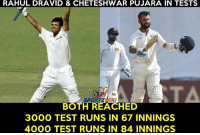 Memes, Too Much, and Test: RAHUL DRAVID & CHETESHWAR PUJARA IN TESTS  SPORTZWIK  BOTH REACHED  3000 TEST RUNS IN 67 INNINGS  4000 TEST RUNS IN 84 INNINGS Too much coincidence !
