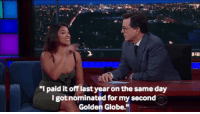"a standing ovation for Gina Rodriguez paying off her student loans in the most badass of ways : Rai  I paid it off last year on the same day  I got nominated for my seconed  Golden Globe."" a standing ovation for Gina Rodriguez paying off her student loans in the most badass of ways"