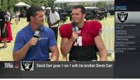.@derekcarrqb vs. @52Mack_. Who'd win in a game of 1-on-1? 🏀🏀🏀  Well, according to Derek... https://t.co/8QzHbcFSdf: RAIDERS  2017 SEASON  RAIDERS  Training Camp Location:  Napa, CA  Head Coach:  Jack Del Rio  Offensive Coordinator:  Todd Downing  Defensive Coordinator:  Ken Norton Jr.  Special Teams Coordinator:  Brad Seely  RAIDERS  David Carr goes 1-on-1 with his brother Derek Carr  RAINING .@derekcarrqb vs. @52Mack_. Who'd win in a game of 1-on-1? 🏀🏀🏀  Well, according to Derek... https://t.co/8QzHbcFSdf