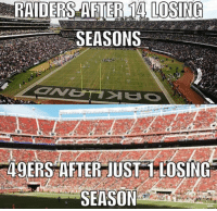 San Francisco 49ers, Nfl, and Raiders: RAIDERS AFTER 14 LOSING  SEASONS,  49ERS AFTER JUST 1-LOSING  SEASON Bay area problems....