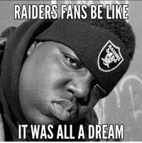 Tag a raiders fan 😂: RAIDERS FANS BE LIKE  T WAS ALL A DREAM Tag a raiders fan 😂