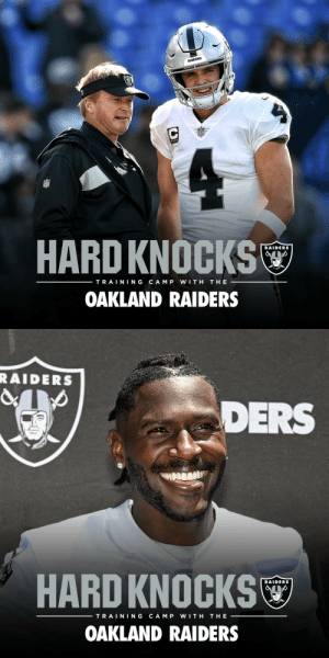 #HardKnocks with the Oakland @Raiders ☠️  Coming to @HBO on August 6! https://t.co/DsiOG9LT8s: RAIDERS  HARD KNOCKS  RAIDERS  TRAINING  CAM P  WITH  THE  OAKLAND RAIDERS   RAIDERS  DERS  EQUIPMEN  HARD KNOCKS  RAIDERS  TRAINING  CAM P  WITH  THE  OAKLAND RAIDERS #HardKnocks with the Oakland @Raiders ☠️  Coming to @HBO on August 6! https://t.co/DsiOG9LT8s