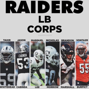 The Raiders had the worst LB core last season. They probably have the best this season. Bout to have a nasty defense.  #RaiderNation: RAIDERS  LB  CORPS  RAIDERSLEGACY  JASON MARQUEL NICHOLAS BRANDON VONTAZE  CABINDA  ER  WHITEHEAD CABINDA  LEE  MORROW MARSHALL BURFICT The Raiders had the worst LB core last season. They probably have the best this season. Bout to have a nasty defense.  #RaiderNation
