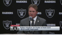 Why was this the right time for Jon Gruden to get back into coaching? https://t.co/QyjDQijICB: RAIDERS  RAIDERS  RAIDERS  RAIDERS  RAIDERS  DA  LIVE COVERAGE  NDERS  RAIDERS  Raiders introduce Jon Gruden as head coach  95-81 as NFL head coach Why was this the right time for Jon Gruden to get back into coaching? https://t.co/QyjDQijICB