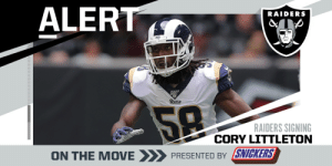 Raiders signing LB Cory Littleton to three-year, $36M deal. (via @RapSheet)  (by @SNICKERS) https://t.co/MJa2jBtoct: Raiders signing LB Cory Littleton to three-year, $36M deal. (via @RapSheet)  (by @SNICKERS) https://t.co/MJa2jBtoct