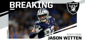 Raiders to sign TE Jason Witten. (via @RapSheet) https://t.co/o30LxxwNkq: Raiders to sign TE Jason Witten. (via @RapSheet) https://t.co/o30LxxwNkq