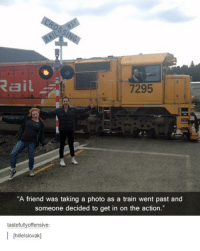 """Dank, 🤖, and Photos: Rail  7295  """"A friend was taking a photo as a train went past and  someone decided to get in on the action.""""  tastefully offensive:  I hillelslovakl"""