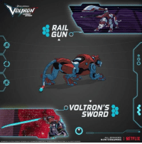 Bold, defiant, and extremely fast, the Red Lion requires a pilot who relies more on instinct than skill.: RAIL  GUN  O VOLTRON'S  SWORD  ALL EPISODES  I NETFLIX  NOW STREAMING Bold, defiant, and extremely fast, the Red Lion requires a pilot who relies more on instinct than skill.