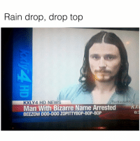 If I'm being completely honest I've never heard the song, FOLLOW @badtastebb for more pretentious shit: Rain drop, drop top  BadtasteBB  KXLY 4 HD NEWS  Man With Bizarre Name Arrested  BEEZOW D00-D00 ZOPITTYB0P-B0P-B0P If I'm being completely honest I've never heard the song, FOLLOW @badtastebb for more pretentious shit