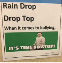 you guys asked to see the other cyberbullying poster at our school so here it is. @zclanton21 made it -a: Rain Drop  Drop Top  When it comes to bullying,  ITS TIME TO STOP!  Zack Clanton O2017 you guys asked to see the other cyberbullying poster at our school so here it is. @zclanton21 made it -a