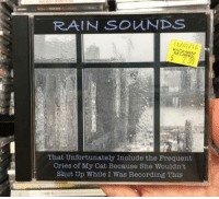 Funny, Shut Up, and Rain: RAIN SOUNDS  11/02/16  ROCKAWAY  RECOROS  That Unfortunately Include the Frequent  Cries of My Cat Because She Wouldn't  Shut Up While I Was Recording This <p>Rib tickling Sunday  A handful of funny pics  PMSLweb </p>