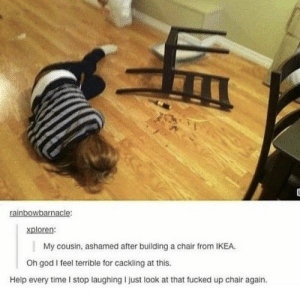 God, Ikea, and Help: rainbowbarnacle:  xploren:  My cousin, ashamed after building a chair from IKEA.  Oh god I feel terrible for cackling at this.  Help every time I stop laughing I just look at that fucked up chair again. .