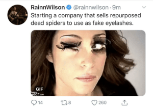 Fake, Gif, and The Office: RainnWilson  @rainnwilson 9m  Starting a company that sells repurposed  dead spiders to use as fake eyelashes.  GIF  exy  6DIC.cOM  14  L1.8  260 He gets it... He played Dwight from The Office if you weren't sure who he is.