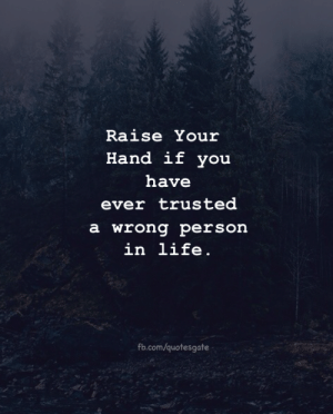 Raise Your Hand: Raise Your  Hand if vou  have  ever trusted  a wrong person  in life.  fb.com/quotesgate