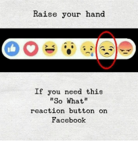 Facebook, You, and What: Raise your hand  If you need this  So What  reaction button on  Facebook