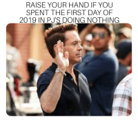 Funny, Word, and Day: RAISE YOUR HAND IF YOU  SPENT THE FIRST DAY OF  2019 IN PJ'S DOING NOTHING Word