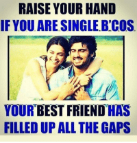Best Friend, Memes, and The Gap: RAISE YOUR HAND  IF YOUARE SINGLE B'COS  YOUR BEST FRIEND HAS  FILLEDUP ALL THE GAPS