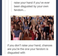 Humans of Tumblr, Been, and Fandom: raise your hand if you've ever  been disgusted by your own  fandom...  if you don't raise your hand, chances  are you're the one your fandom is  disgusted with