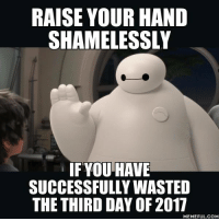 9gag, Dank, and Shameless: RAISE YOUR HAND  SHAMELESSLY  IF YOU HAVE  SUCCESSFULLY WASTED  THE THIRD DAY OF 2017  MEMEFUL COM New year, same me. http://9gag.com/gag/aOdOq32?ref=fbpic
