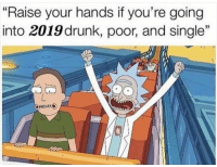 """✋: """"Raise your hands if you're going  into 2019 drunk, poor, and single""""  as ✋"""