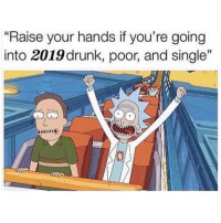 """SarcasmOnly: """"Raise your hands if you're going  into 2019 drunk, poor, and single""""  a5 SarcasmOnly"""