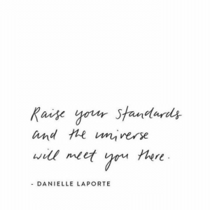 danielle: Raise your Standards  and te unrerse  will meet  tere  - DANIELLE LAPORTE