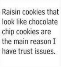 Raisin cookies that  look like chocolate  chip cookies are  the main reason I  have trust issues. Lol... #Trust Issues
