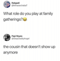 Family, Hood, and Play: Rakgadi  @MmasechabaT  What role do you play at family  gatherings?  Papi Reyes  @StepDaddyAngel  the cousin that doesn't show up  anymore 😂