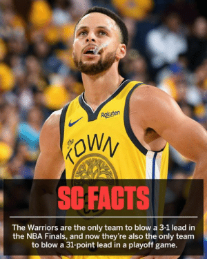Oh my. (via SportsCenter): Rakuten  SCFACTS  The Warriors are the only team to blow a 3-1 lead in  the NBA Finals, and now they're also the only team  to blow a 31-point lead in a playoff game. Oh my. (via SportsCenter)
