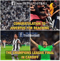 Juventus into the final 💪: RalREALTROLLFOOTBALL  CONGRATULATION TO  T TrolllFootball  Jeep  THE CHAMPIONS LEAGUE FINAL  IN CARDIFF Juventus into the final 💪