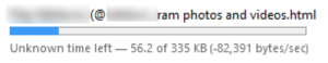 Videos, Firefox, and Time: ram photos and videos.html  Unknown time left  56.2 of 335 KB (-82,391 bytes/sec) Firefox, that's not how you download things... (personal info removed)
