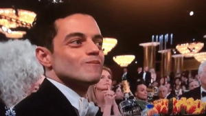 Rami Malek always looks like he's trying to eat chips as quietly as possible.: Rami Malek always looks like he's trying to eat chips as quietly as possible.