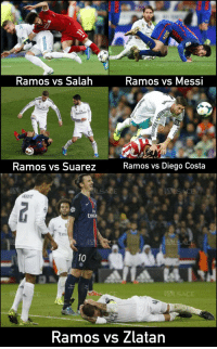 Diego Costa, Memes, and Messi: Ramos vs Salalh  Ramos vs Messi  Ramos vs Suarez  Ramos vs Diego Costa  ARANE  Emira  Emi  10  Ramos vs Zlatan Don't mess with Zlatan 😎 https://t.co/diMkLuIZwJ