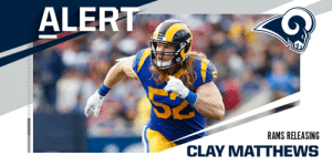 Rams releasing LB Clay Matthews. (via @MikeGarafolo) https://t.co/7rXiJiFUgh: Rams releasing LB Clay Matthews. (via @MikeGarafolo) https://t.co/7rXiJiFUgh