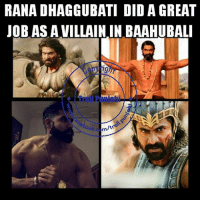 Great movie and great performance by Rana Dhaggubati aka Bhallaldev 👌: RANA DHAGGUBATI DID A GREAT  JOB AS A VILLAININ BAAHUBALI  m/t  ook e Great movie and great performance by Rana Dhaggubati aka Bhallaldev 👌