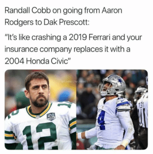 "😂: Randall Cobb on going from Aaron  Rodgers to Dak Prescott:  ""It's like crashing a 2019 Ferrari and your  insurance company replaces it with a  2004 Honda Civic""  ES 😂"