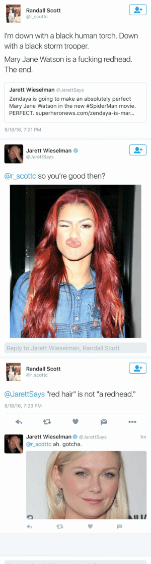 "michaelsfassbender:     that clapback hurt me and i dont even agree with Randall but that was SEVERE : Randall Scott  @r_scottc  I'm down with a black human torch. Down  with a black storm trooper  Mary Jane Watson is a fucking redhead  The eno  Jarett Wieselman @JarettSays  Zendaya is going to make an absolutely perfect  Mary Jane Watson in the new #SpiderMan movie  PERFECT. superheronews.com/zendaya-is-mar.  8/18/16, 7:21 PM   Jarett Wieselman  @JarettSays  @r_scottc so you're good then?  Reply to Jarett Wieselman, Randall Scott   Randall Scott  @r_scottc  @JarettSays ""red hair"" is not ""a redhead.""  8/18/16, 7:23 PM  Jarett Wieselman@JarettSays  @r_scottc ah. gotcha.  1m michaelsfassbender:     that clapback hurt me and i dont even agree with Randall but that was SEVERE"