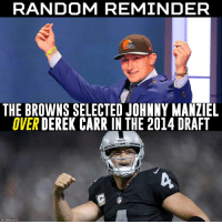 well that explains a lot: RANDOM REMINDER  THE BROWNS SELECTED JOHNNY MANZIEL  OVER DEREK CARR IN THE 2014 DRAFT  E RAIDERS  @CBSSports well that explains a lot