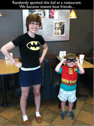 My Sidekick.: Randomly spotted this kid at a restaurant.  We became instant best friends. My Sidekick.